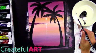 How to paint a sunset on a beach with palm trees | Acrylic Painting Tutorial