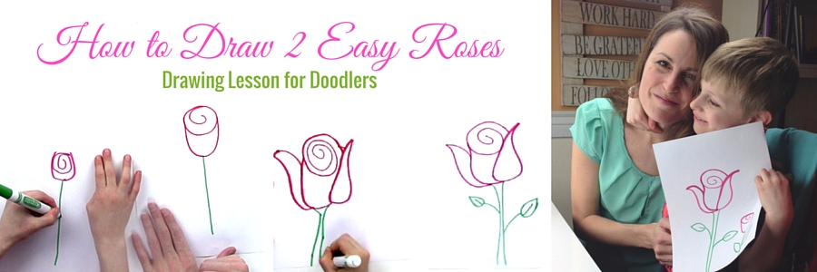 how to draw a rose for little kids