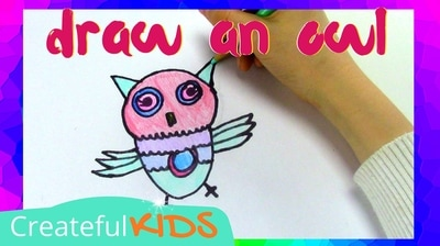 How to draw an owl for kids | Createful Kids