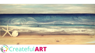 How to paint a beach on wood with acrylics.