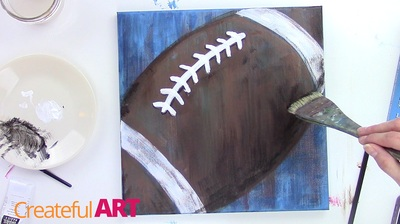 How to paint a football art with acrylics.