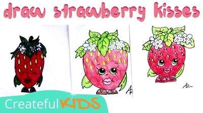 Strawberry Kiss drawing for kids | Shopkin Drawings | Createful Kids