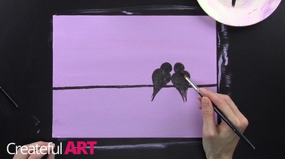 How to paint love birds silhouette with acrylics.