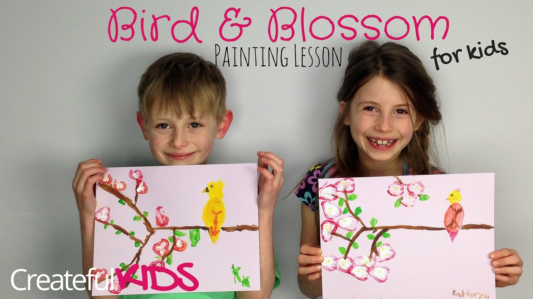 how to paint a bird and cherry blossoms