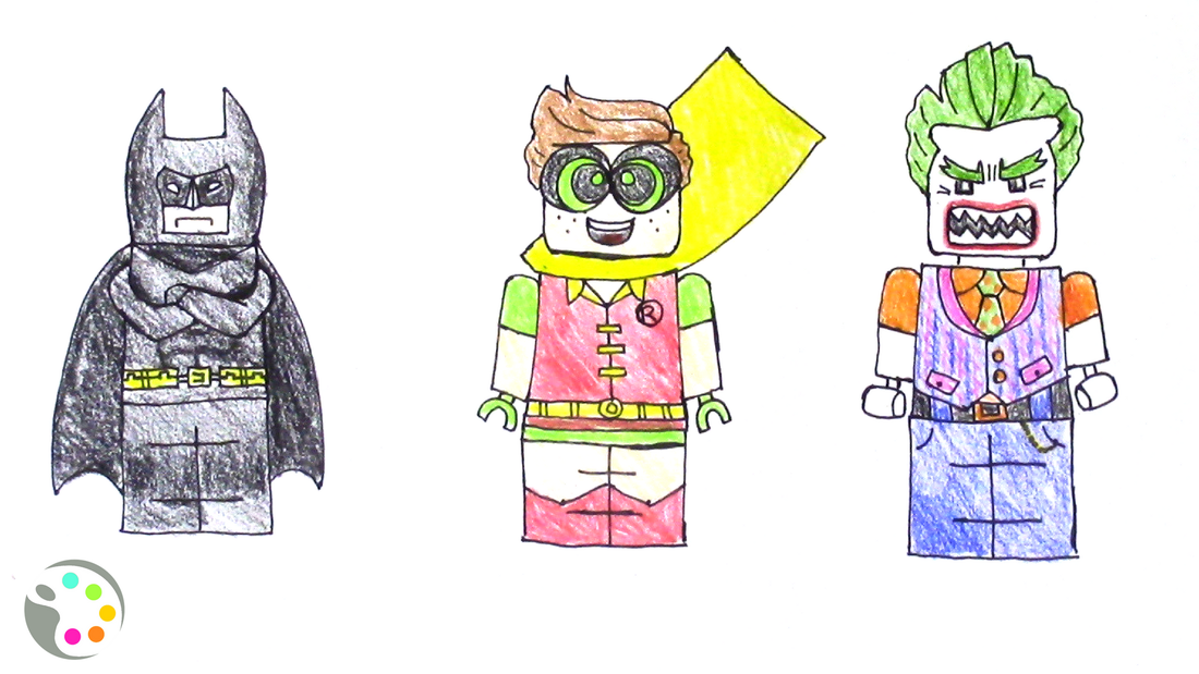 how to draw lego batman characters for kids