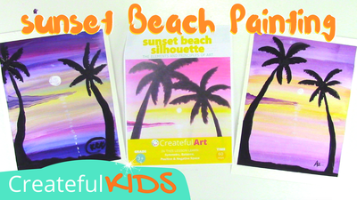 Sunset beach painting for kids | Createful Kids Painting