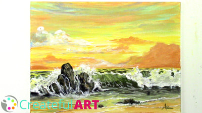 How to paint a sunset on a beach with acrylics.