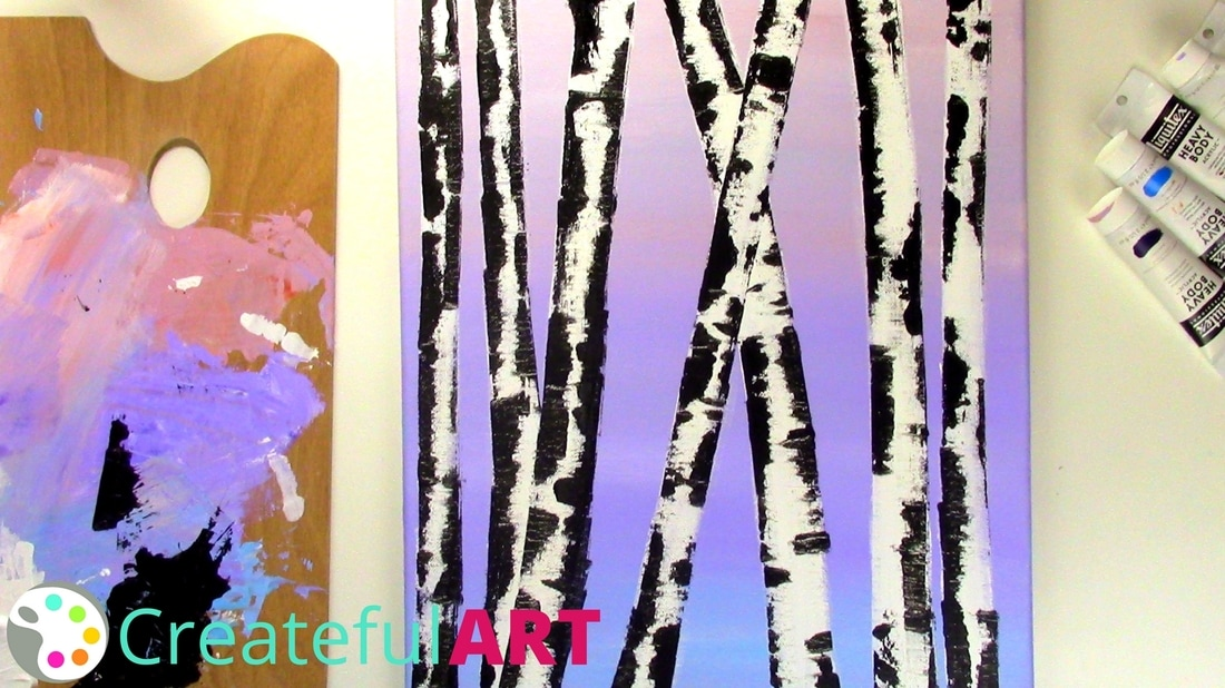 birch trees with credit card