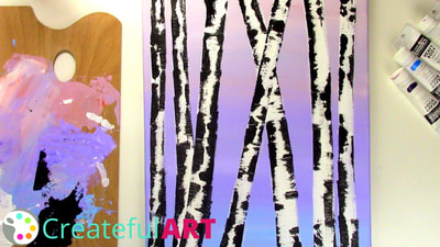 How to paint birch trees with acrylics.