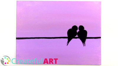 Love bird silhouettes painting