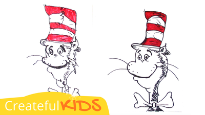 How to draw Cat in the Hat from Dr. Seuss | Createful Kids