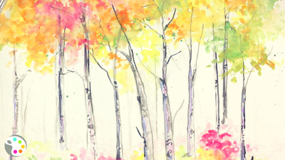 How to paint fall birch trees with watercolors