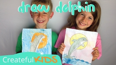 How to draw a dolphin | Createful Kids