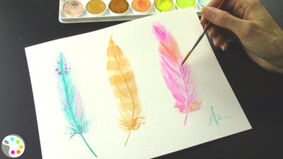 Feather watercolor painting tutorial