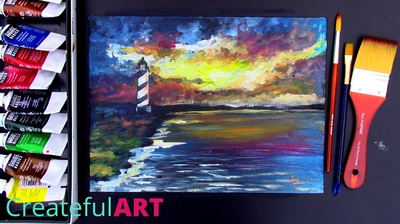 How to paint a lighthouse with a sunset in acrylics.