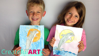 how to draw a dolphin for kids