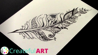 Zentangle Feather | Fall Art Projects for Kids | Createful Kids
