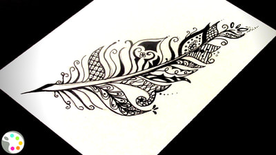 How to Draw a Feather - Zentangle inspired