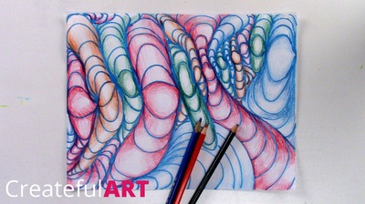 3-D art drawing with lines.