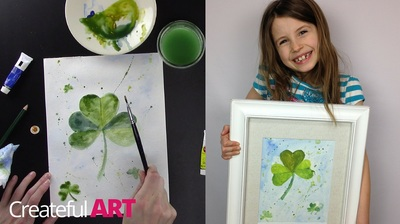 How to paint a shamrock with watercolors.