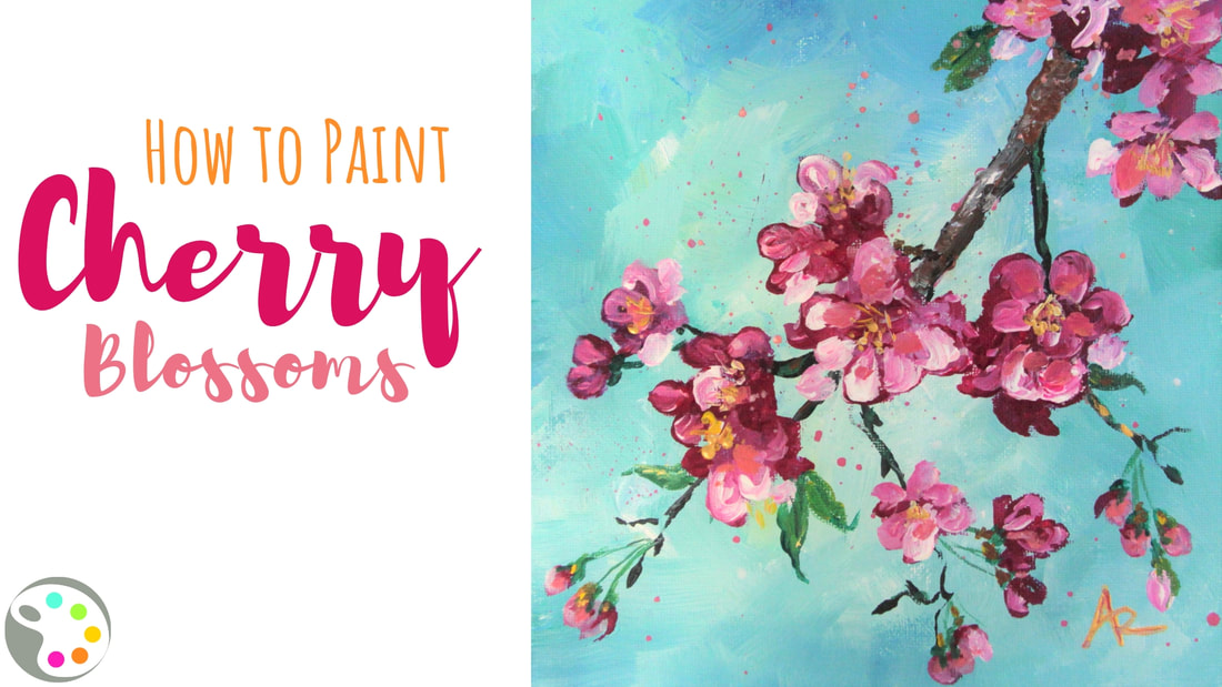 how to paint cherry blossoms tutorial