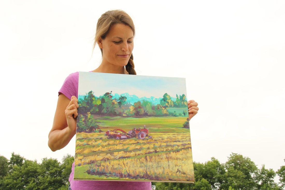farm painting with old tractor