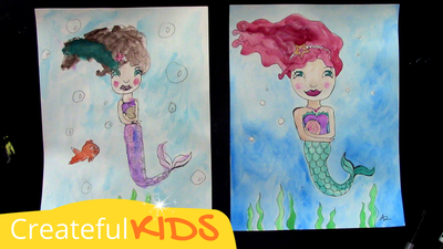 How to draw a mermaid for kids | Createful Kids