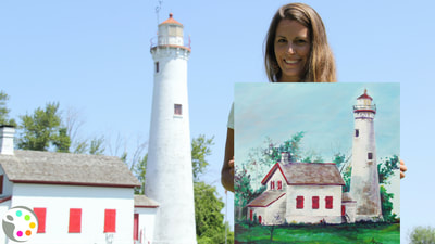how to paint a light house and buildings, step by step
