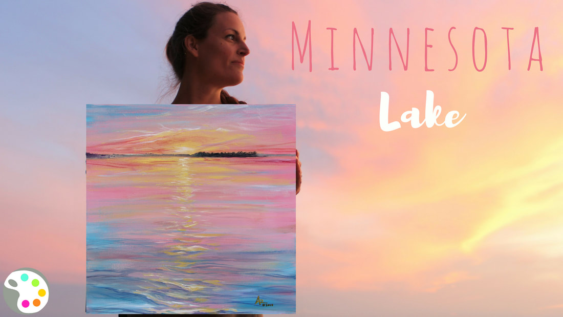 Minnesota lake sunset painting