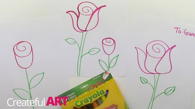 How to draw a rose for Valentine's Day | Createful Kids