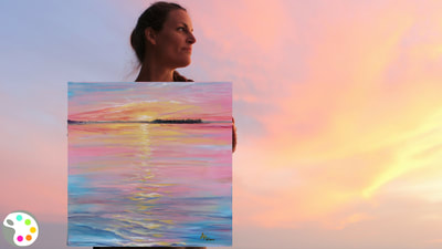 How to paint a sunset on a lake with acrylics.