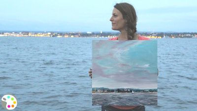 How to paint a lake with stormy sky | Acrylic painting tutorial
