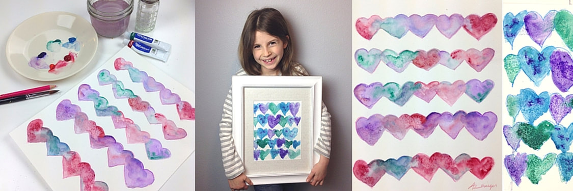 watercolor hearts for kids