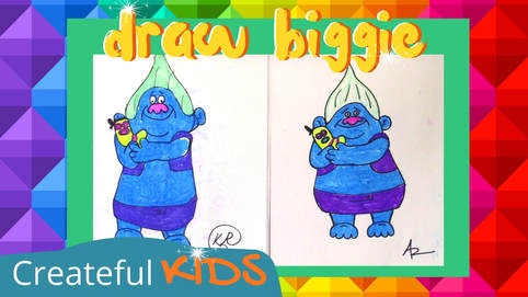 Draw Biggie and Mr. Dinkles from Trolls