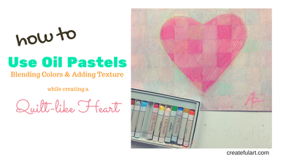 Heart with pastels art project.