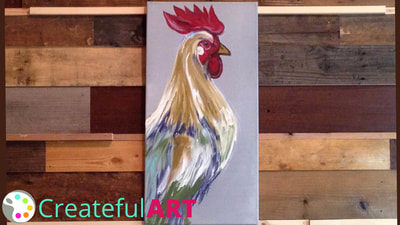 How to paint a rooster with acrylics.