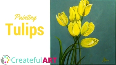 How to paint tulips with acrylics.
