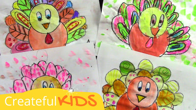 How to Draw Turkeys | Thanksgiving Art Project for Kids | Createful Kids
