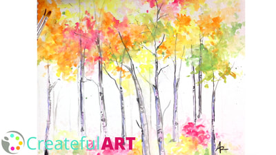 Watercolor Birch Trees | Fall Art Projects for Kids
