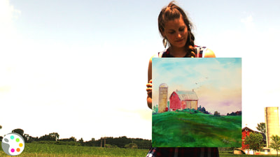 how to paint a sky, barn and field